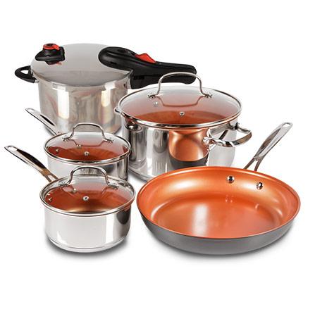 7-Piece Duralon Ceramic Non-Stick Cookware Set + Pressure Cooker